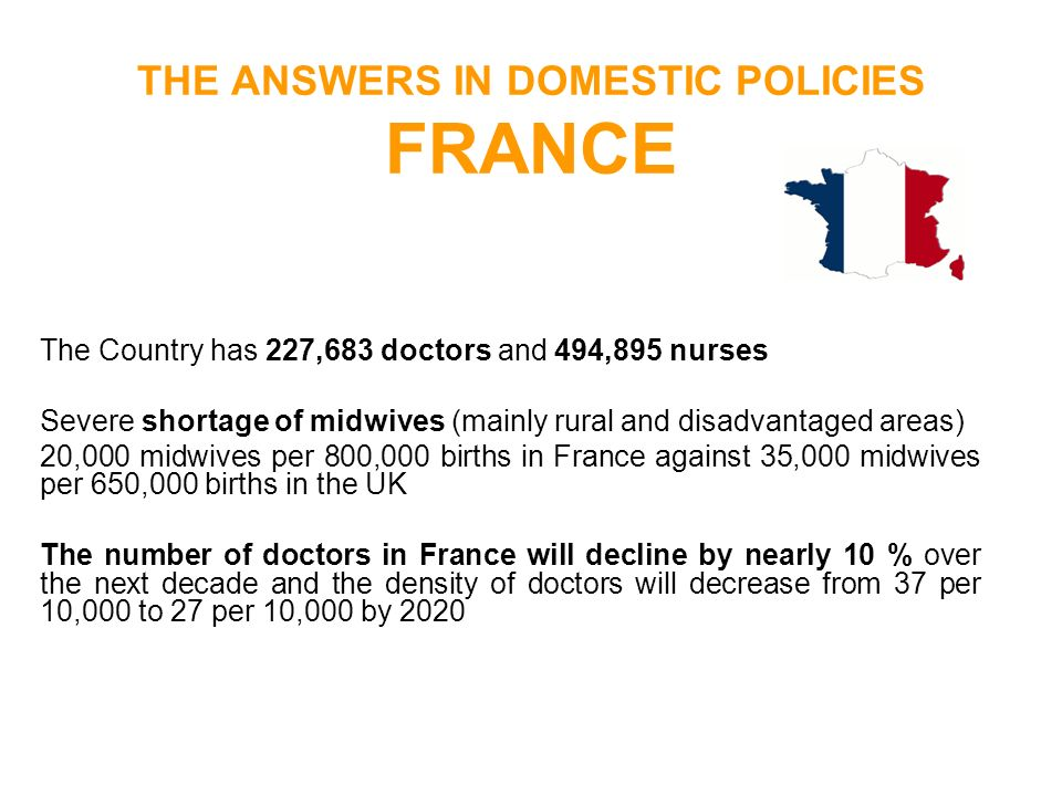 THE ANSWERS IN DOMESTIC POLICIES FRANCE