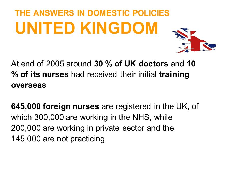 THE ANSWERS IN DOMESTIC POLICIES UNITED KINGDOM