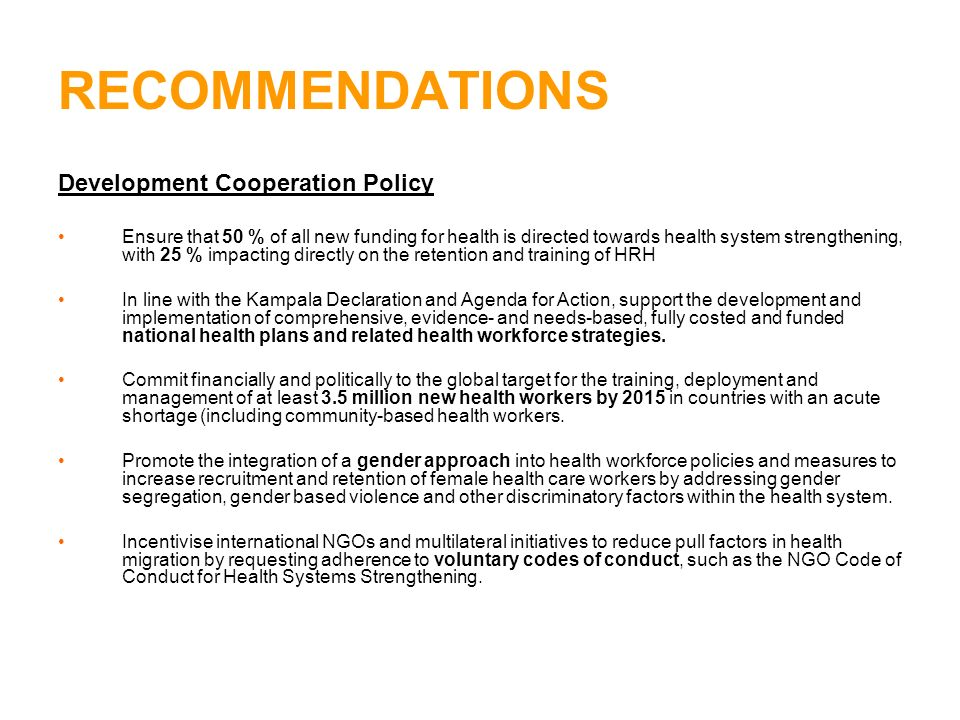RECOMMENDATIONS Development Cooperation Policy