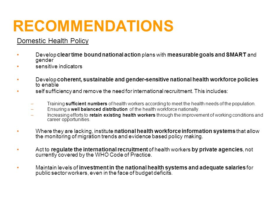 RECOMMENDATIONS Domestic Health Policy
