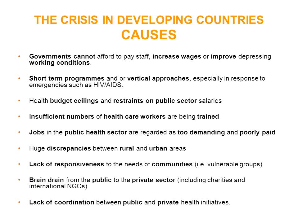 THE CRISIS IN DEVELOPING COUNTRIES CAUSES