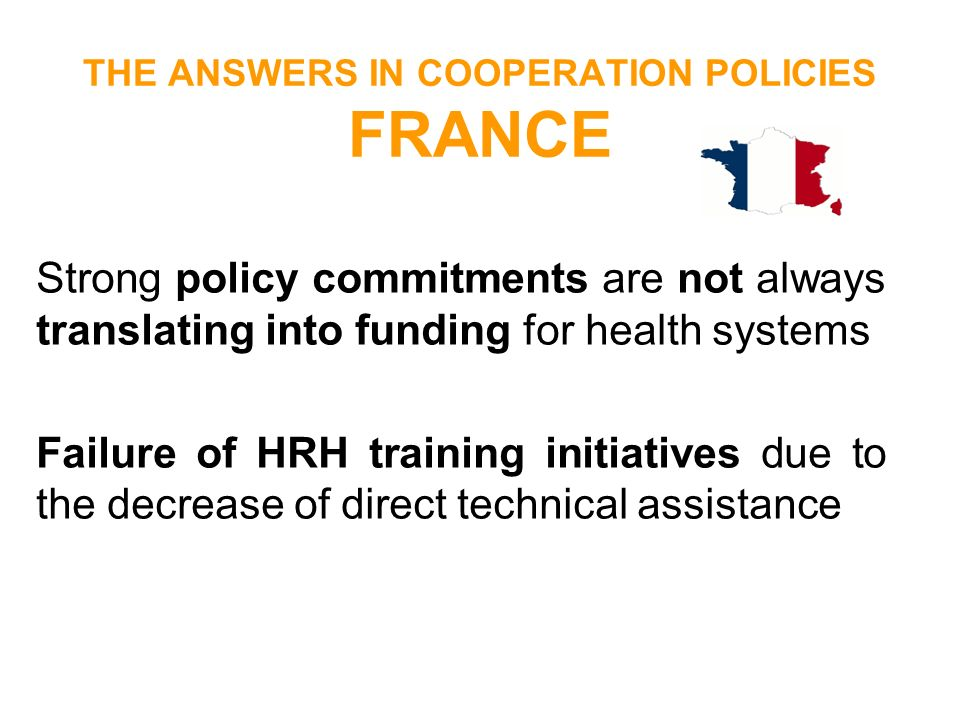 THE ANSWERS IN COOPERATION POLICIES FRANCE