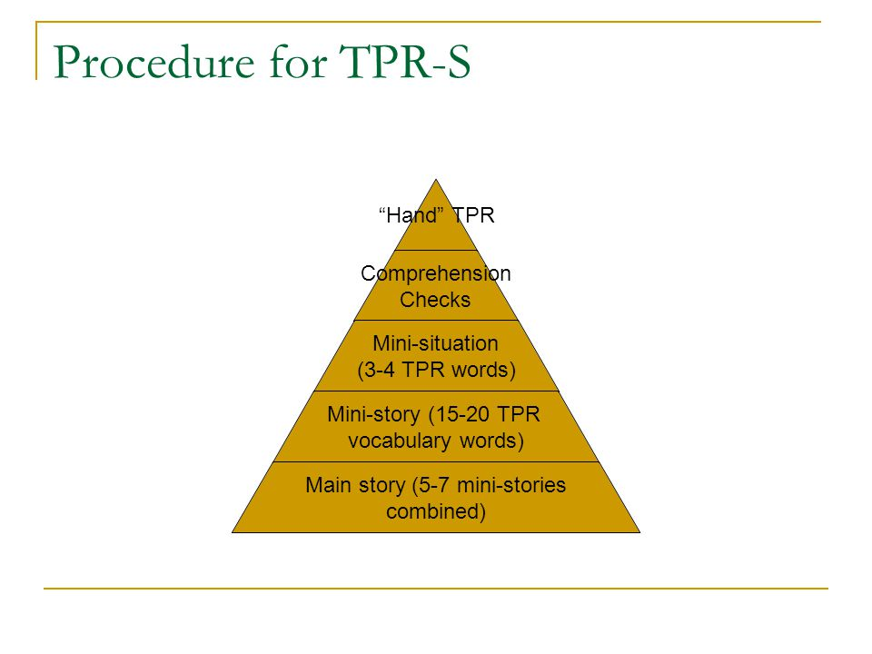 Procedure for TPR-S