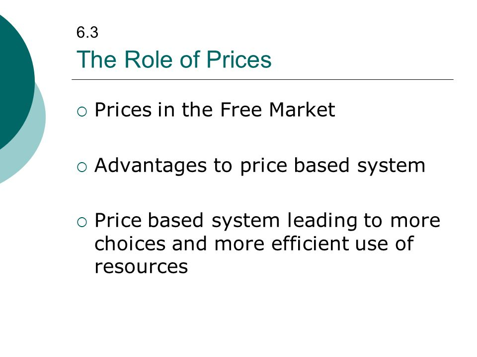 The Role of Prices Prices in the Free Market