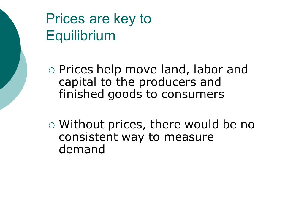 Prices are key to Equilibrium