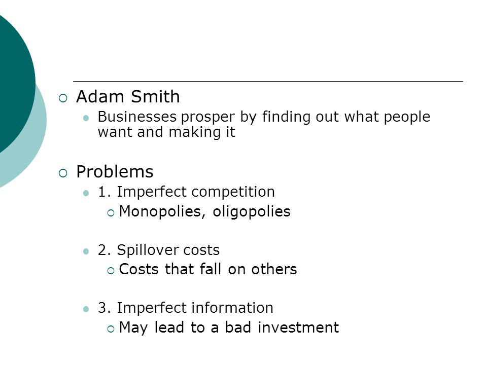 Adam Smith Problems Monopolies, oligopolies Costs that fall on others