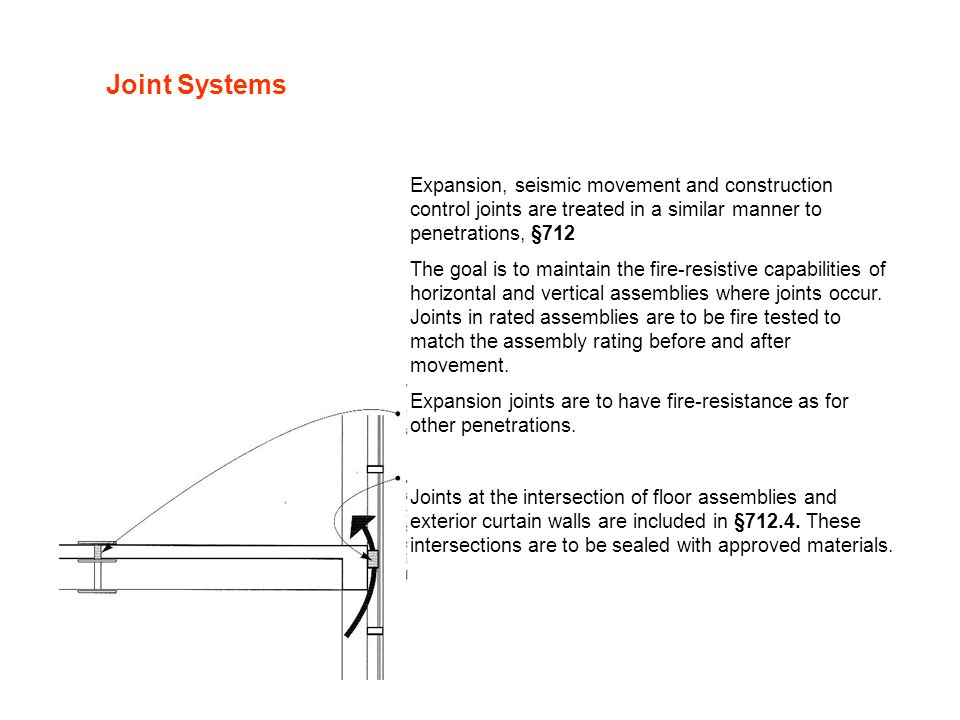 Joint Systems Expansion, seismic movement and construction control joints are treated in a similar manner to penetrations, §712.
