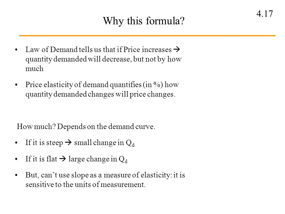 Why this formula Law of Demand tells us that if Price increases  quantity demanded will decrease, but not by how much.