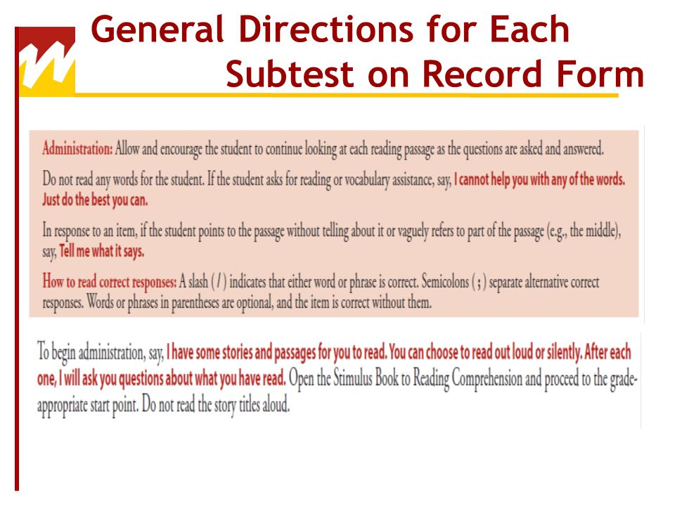 General Directions for Each Subtest on Record Form