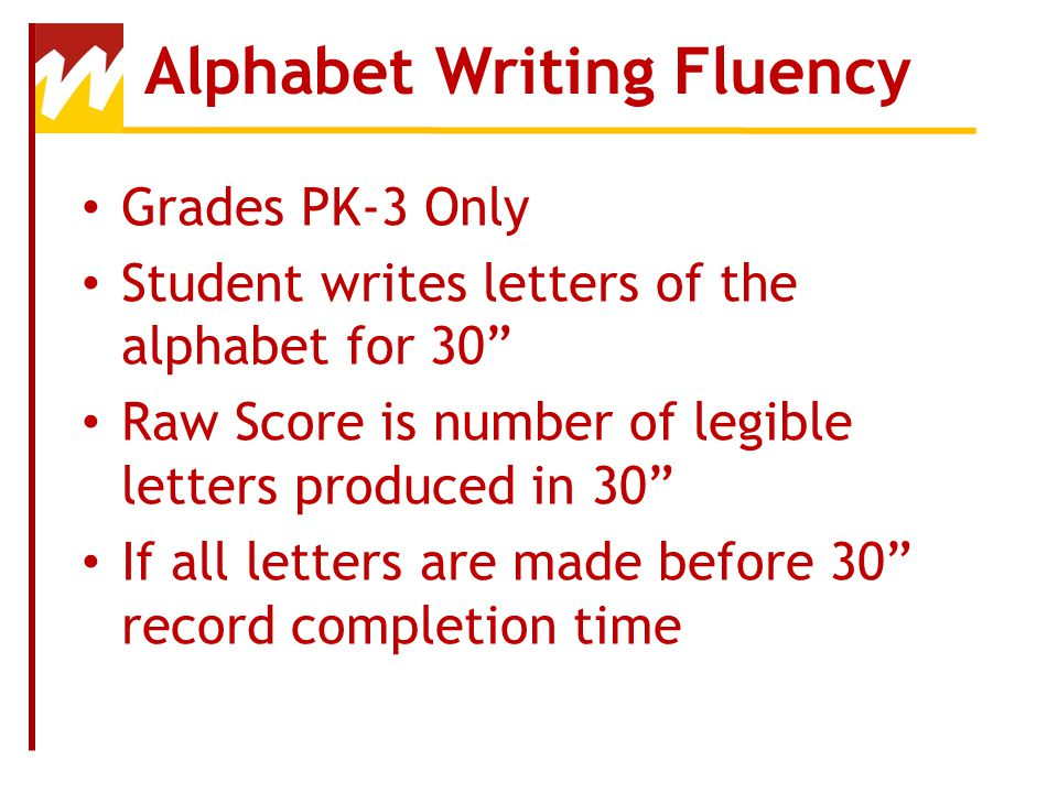 Alphabet Writing Fluency
