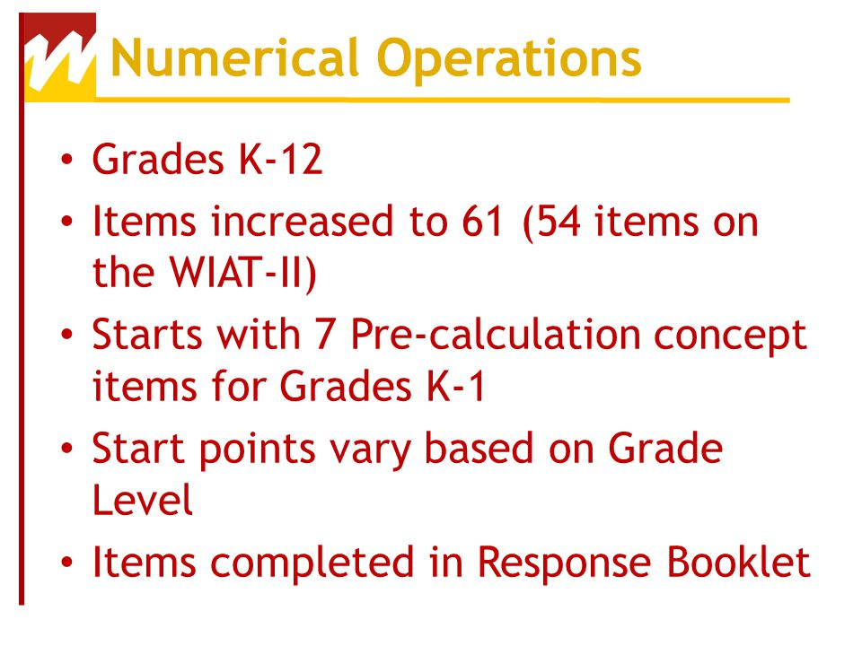 Numerical Operations Grades K-12