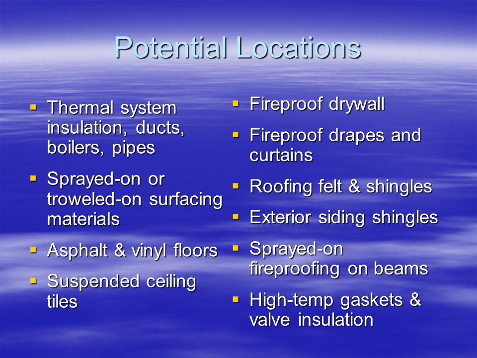 Potential Locations Fireproof drywall
