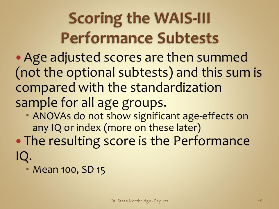 Scoring the WAIS-III Performance Subtests