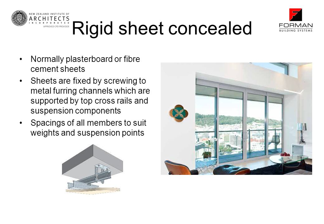 Rigid sheet concealed Normally plasterboard or fibre cement sheets