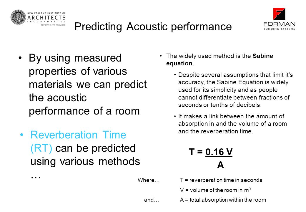 Predicting Acoustic performance
