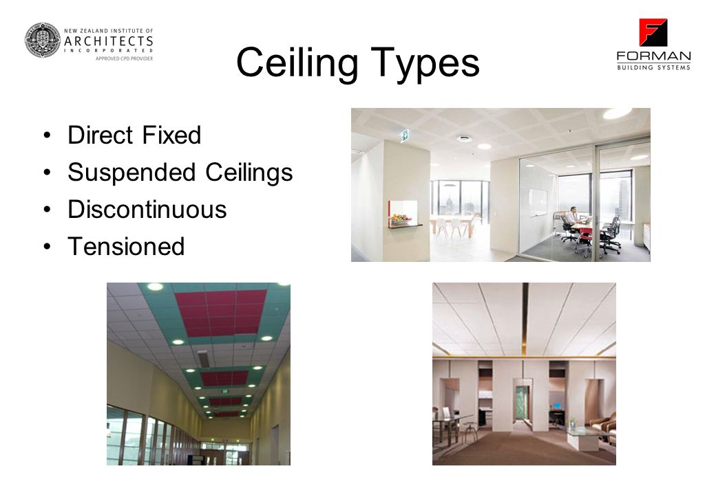 Ceiling Types Direct Fixed Suspended Ceilings Discontinuous Tensioned