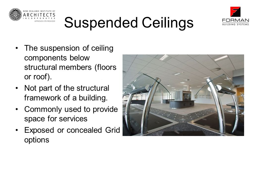 Suspended Ceilings The suspension of ceiling components below structural members (floors or roof).