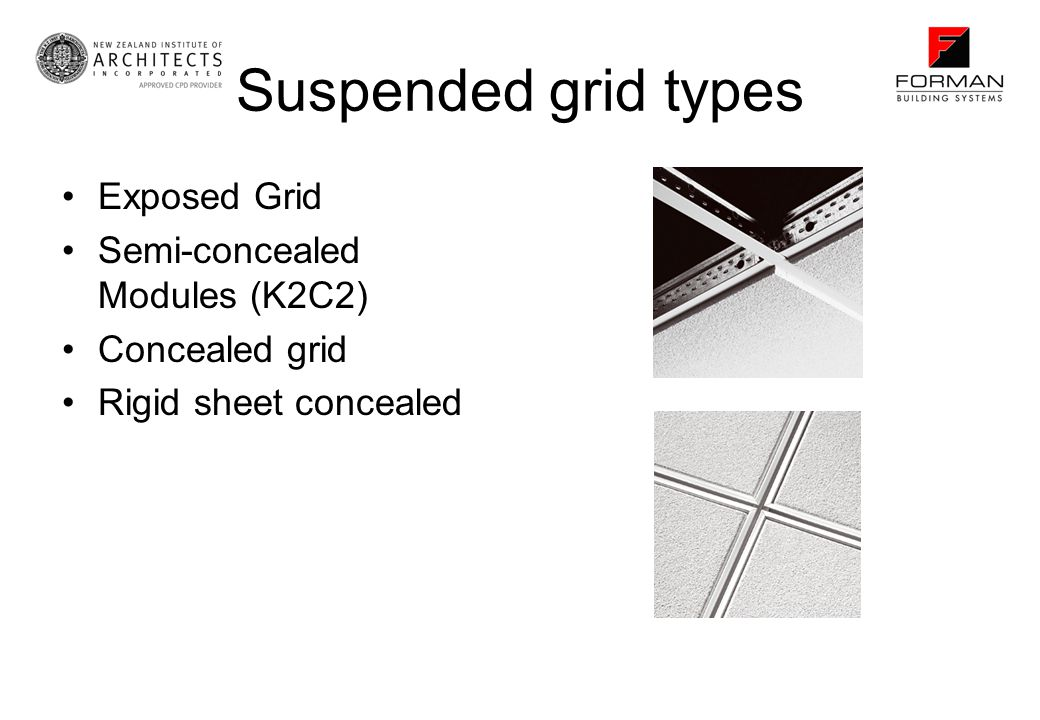 Suspended grid types Exposed Grid Semi-concealed Modules (K2C2)
