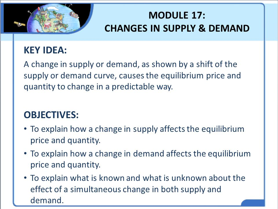 MODULE 17: CHANGES IN SUPPLY & DEMAND
