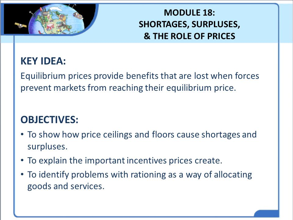 MODULE 18: SHORTAGES, SURPLUSES, & THE ROLE OF PRICES
