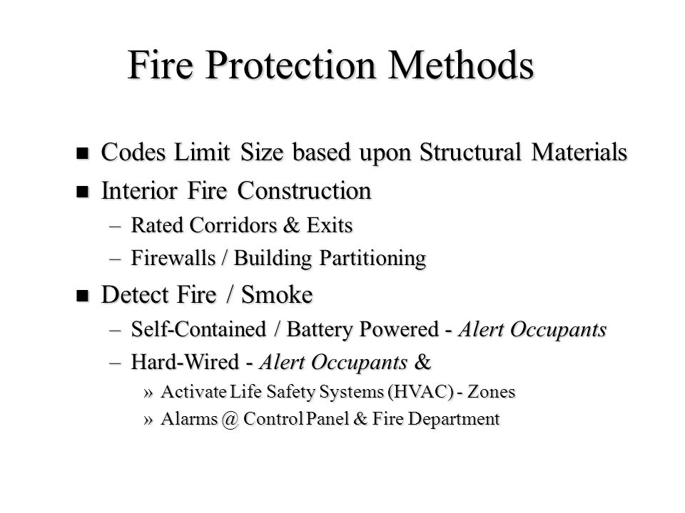 Fire Protection Methods