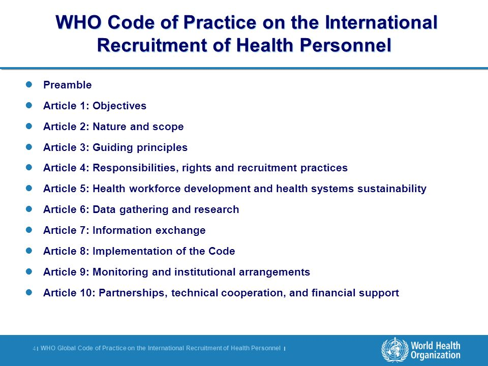 WHO Code of Practice on the International Recruitment of Health Personnel