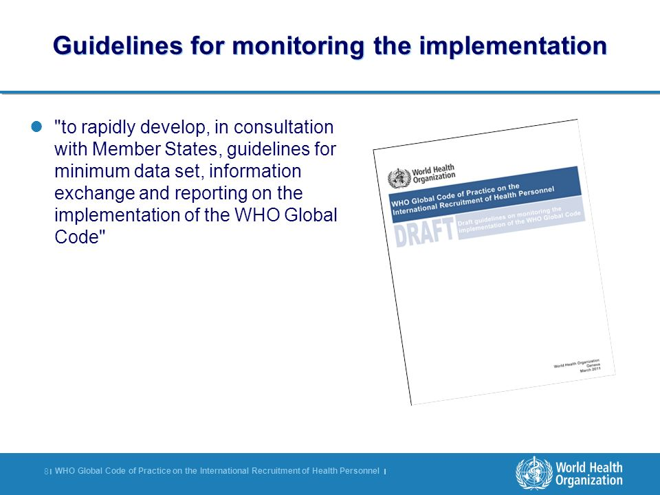 Guidelines for monitoring the implementation