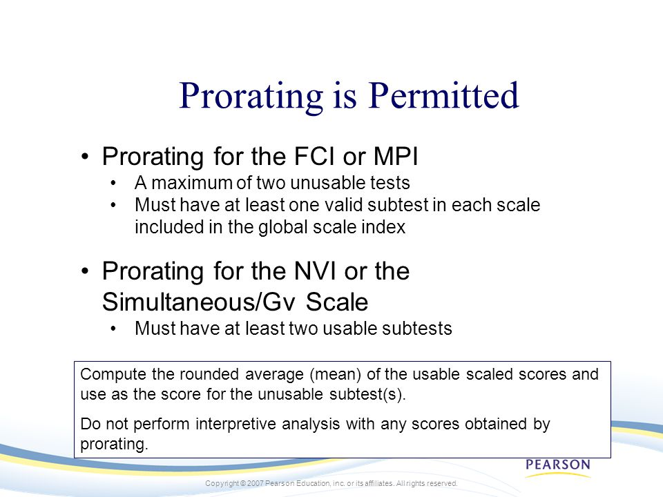 Prorating is Permitted