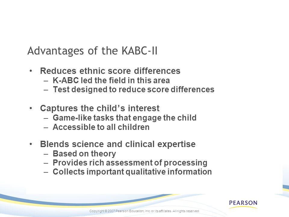 Advantages of the KABC-II