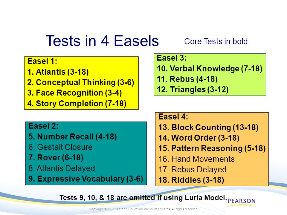 Tests 9, 10, & 18 are omitted if using Luria Model.
