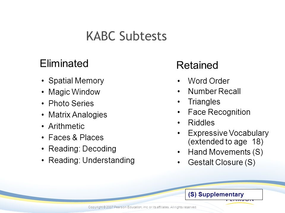 KABC Subtests Eliminated Retained Spatial Memory Word Order