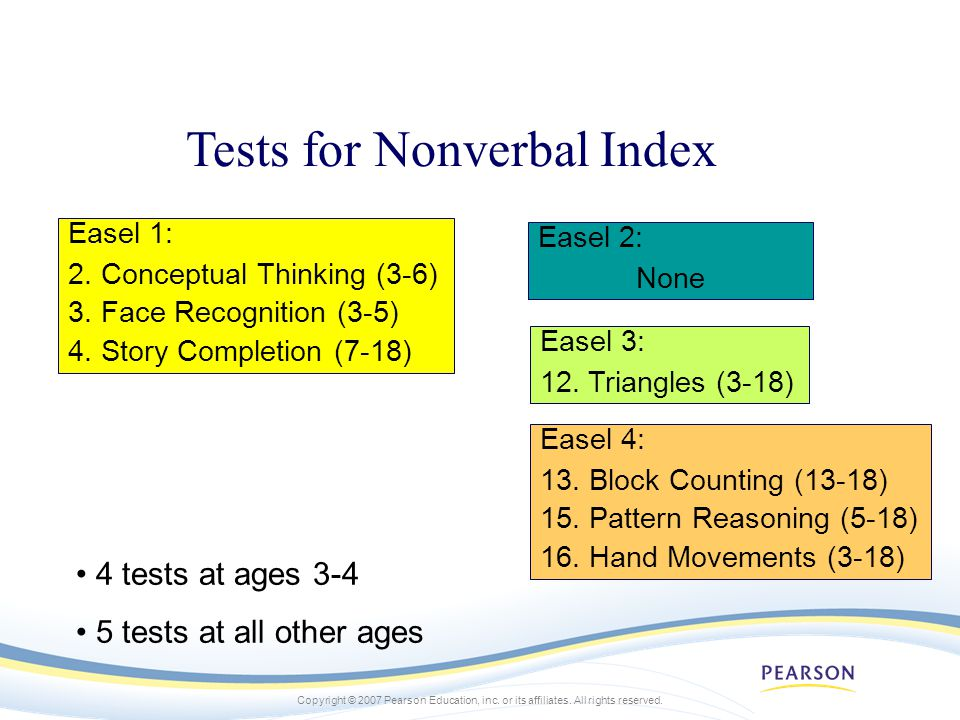 Tests for Nonverbal Index