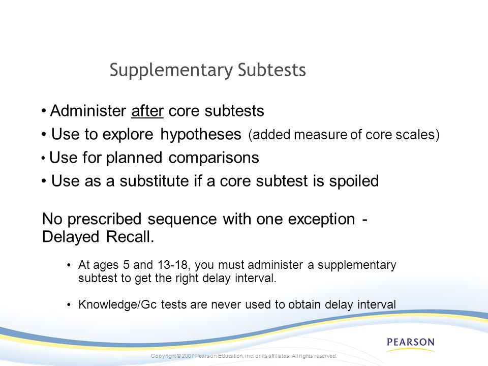 Supplementary Subtests