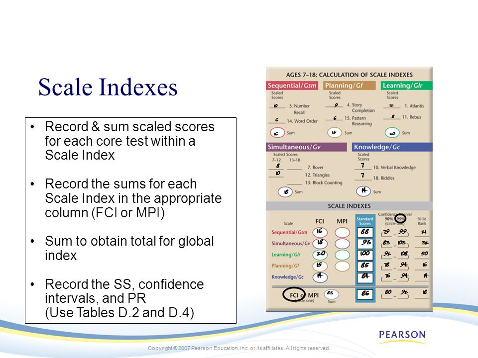 Scale Indexes Record & sum scaled scores for each core test within a Scale Index.