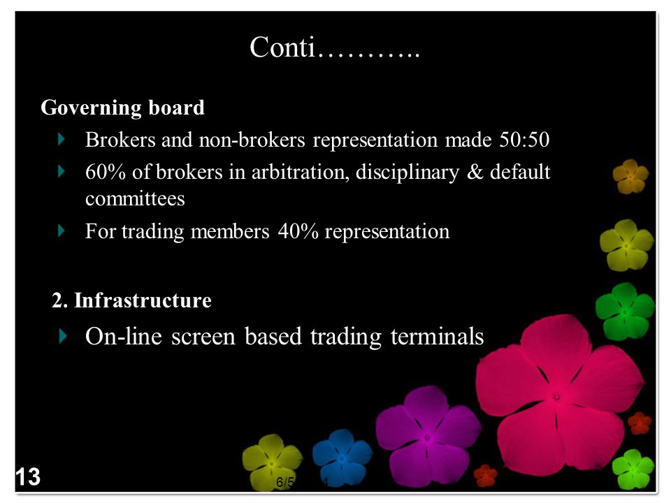 Conti……….. On-line screen based trading terminals 13