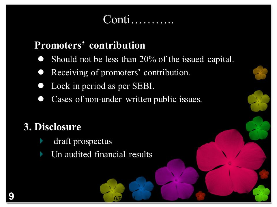 Conti……….. 2. Promoters' contribution 3. Disclosure 9