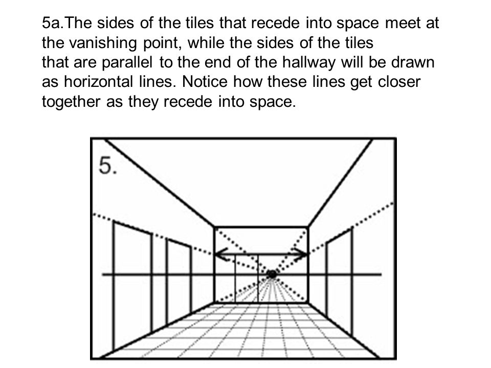 5a.The sides of the tiles that recede into space meet at the vanishing point, while the sides of the tiles that are parallel to the end of the hallway will be drawn as horizontal lines.