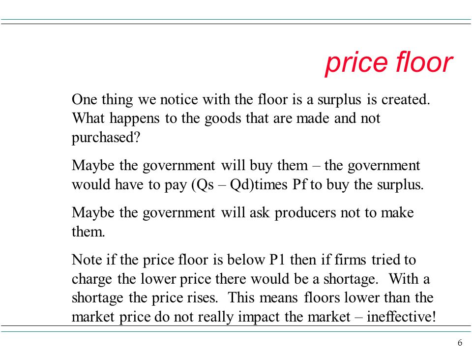 price floor One thing we notice with the floor is a surplus is created. What happens to the goods that are made and not purchased
