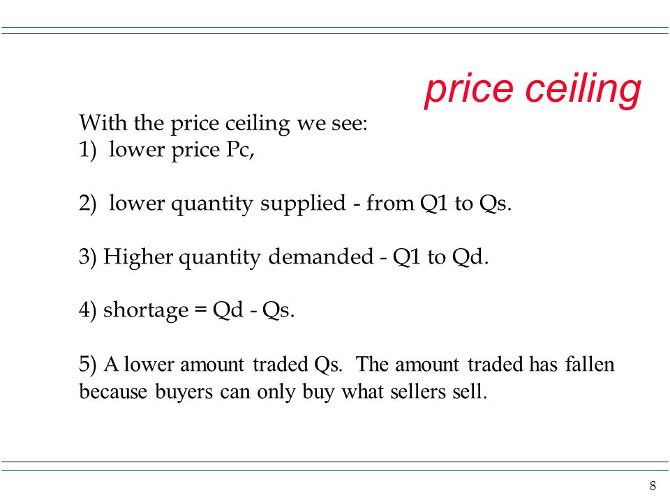 price ceiling With the price ceiling we see: 1) lower price Pc,
