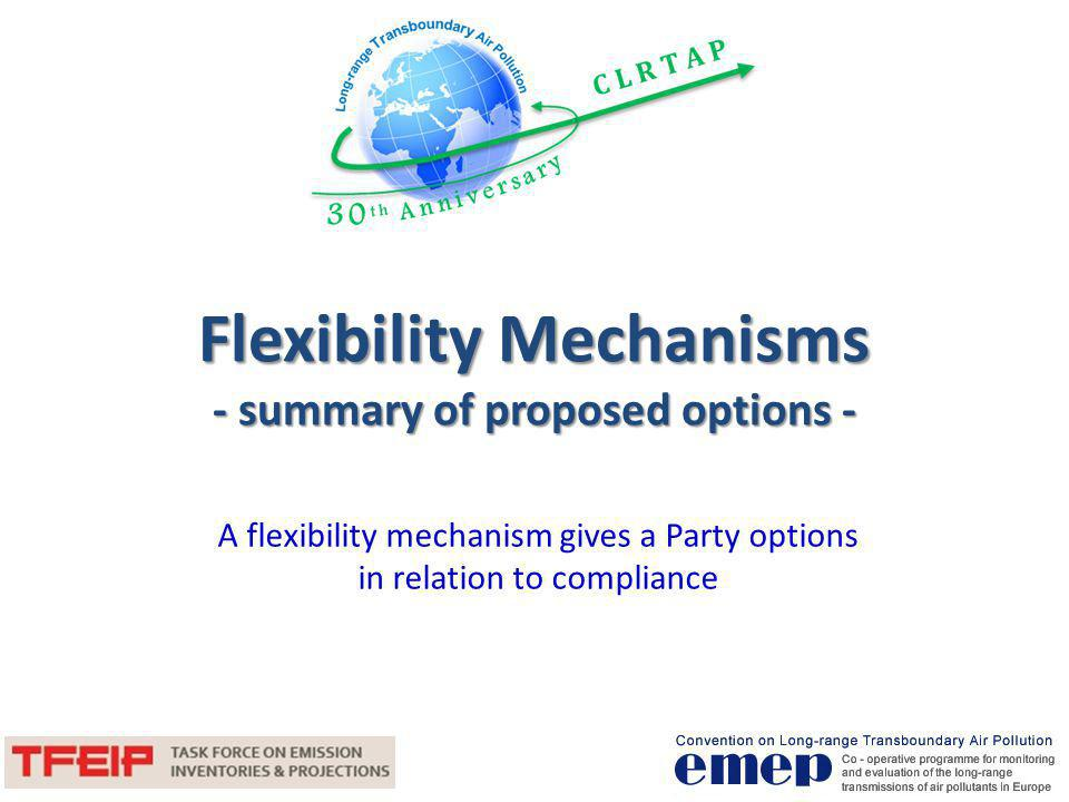 Flexibility Mechanisms - summary of proposed options -