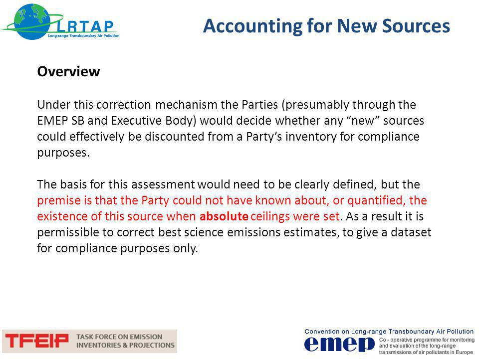 Accounting for New Sources