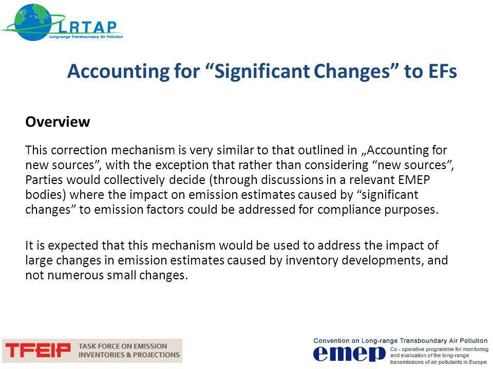 Accounting for Significant Changes to EFs