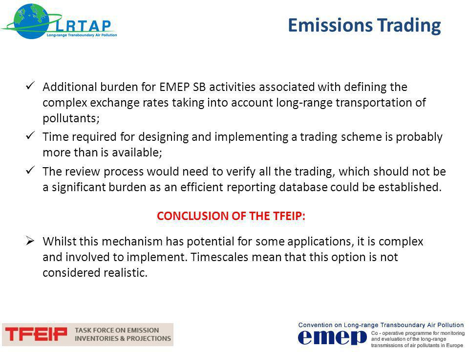 CONCLUSION OF THE TFEIP: