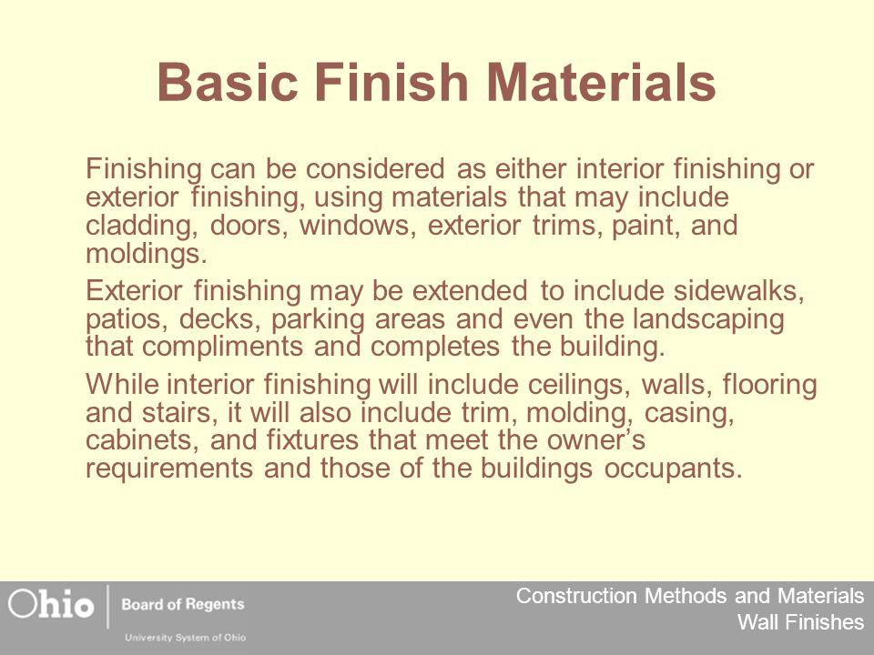 Basic Finish Materials