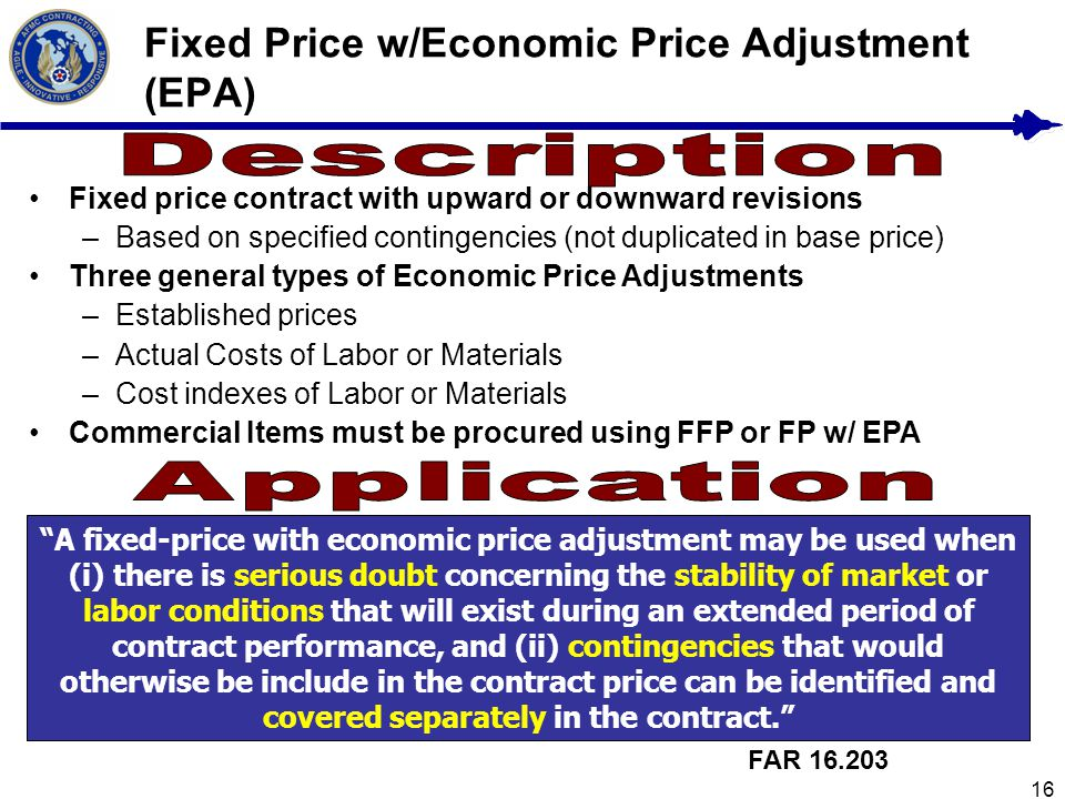 Fixed Price w/Economic Price Adjustment (EPA)