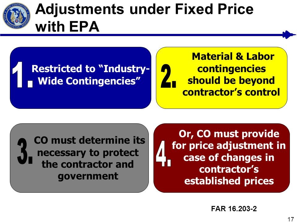 Adjustments under Fixed Price with EPA