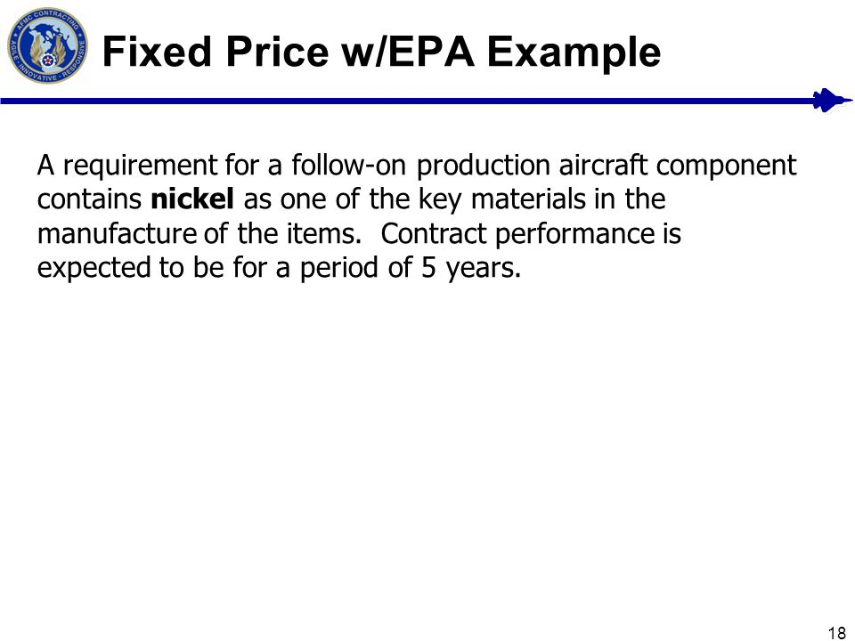 Fixed Price w/EPA Example