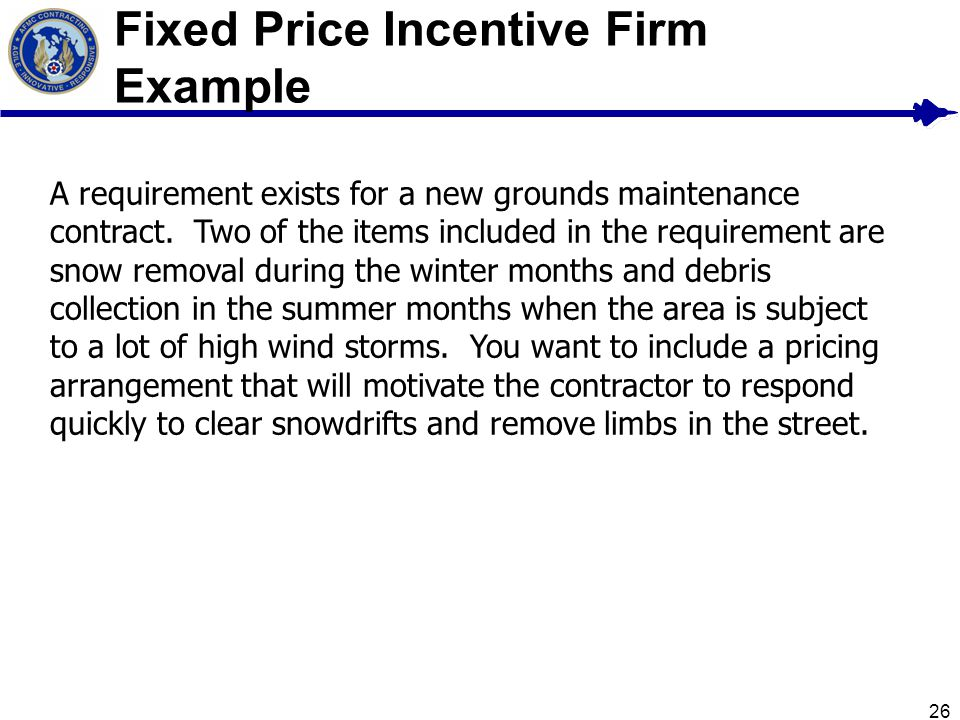 Fixed Price Incentive Firm Example