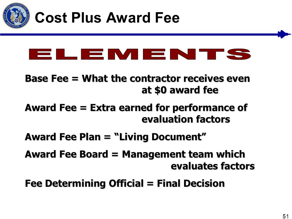 Cost Plus Award Fee ELEMENTS