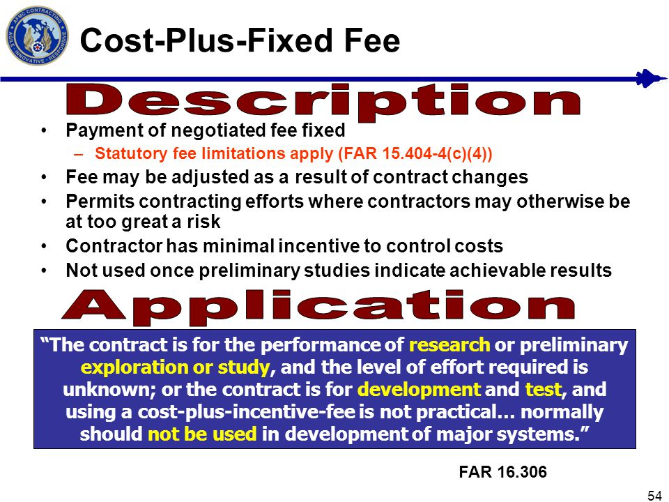 Cost-Plus-Fixed Fee Description Application